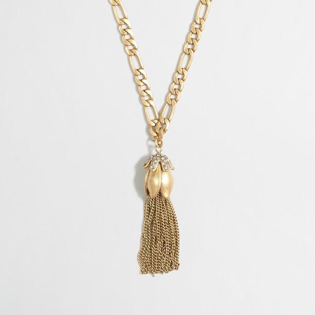 Factory drop fringe pendant necklace
