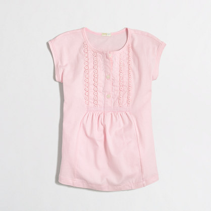 Girls' pleated placket top