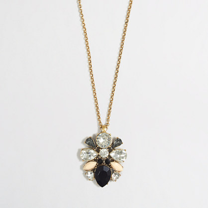Factory crystal and stone cluster pendant necklace