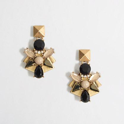 Factory golden-backed stone cluster earrings