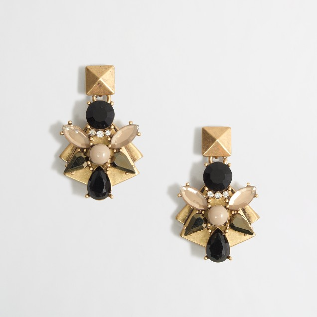 Factory golden-backed stone cluster earrings