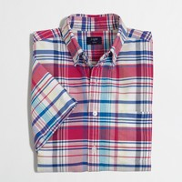 Short-sleeve oxford shirt in plaid