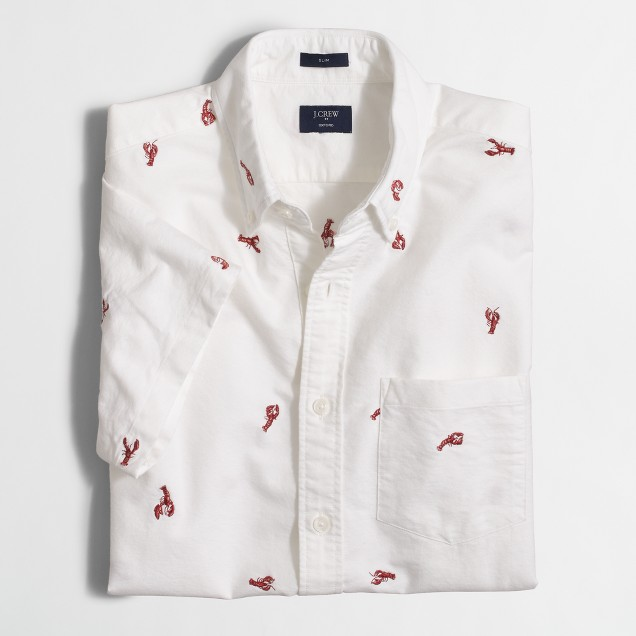 Short-sleeve oxford shirt in anchor