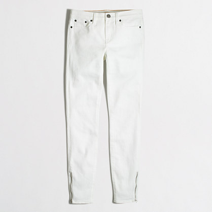 White skinny jean with ankle zips