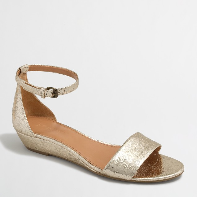 Crackle demi-wedge sandals