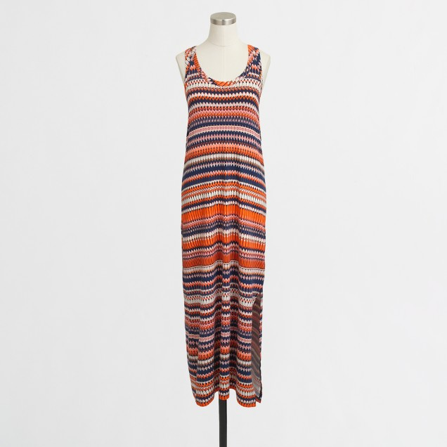 Printed knit racerback maxi dress