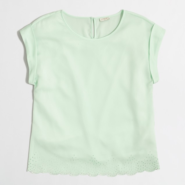 Scalloped-hem top