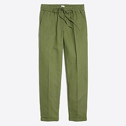 Linen-cotton drawstring pant