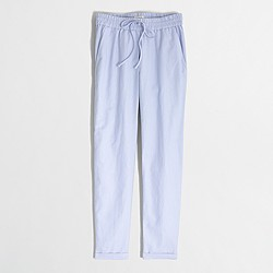 Factory linen-cotton drawstring pant