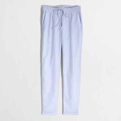 Petite linen-cotton drawstring pant
