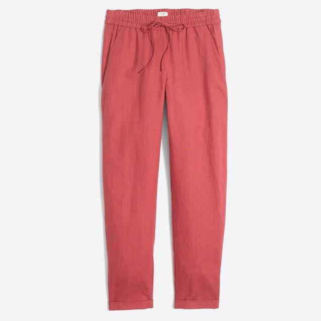 Linen-cotton drawstring pant