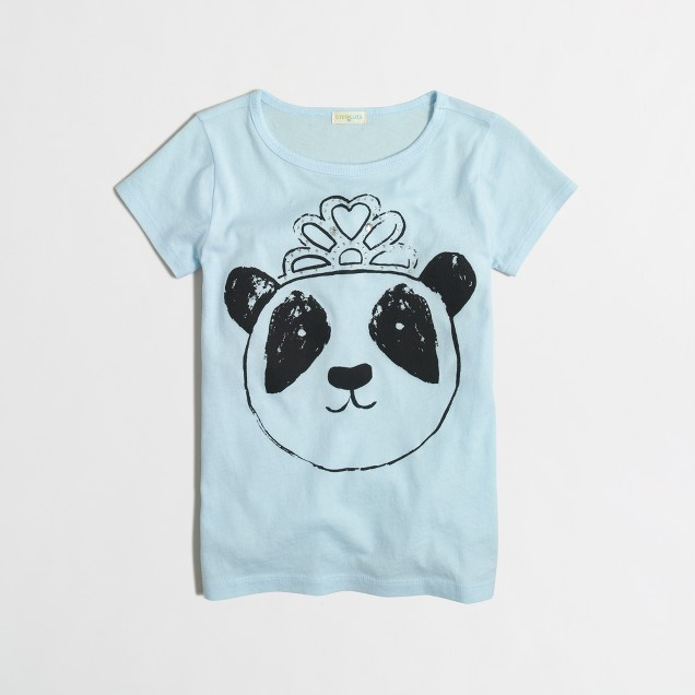 Girls' panda with tiara keepsake t-SHIRT