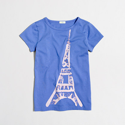 Girls' jeweled eiffel tower keepsake t-SHIRT