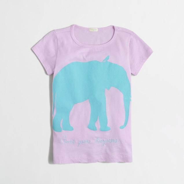 Girls' elephant and bird keepsake t-SHIRT