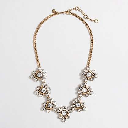 Factory crystal crowned triangles necklace