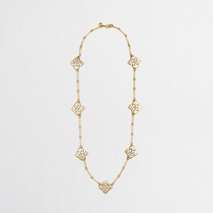 Factory gold and crystal squares necklace