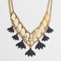 Factory golden squares double-chain necklace