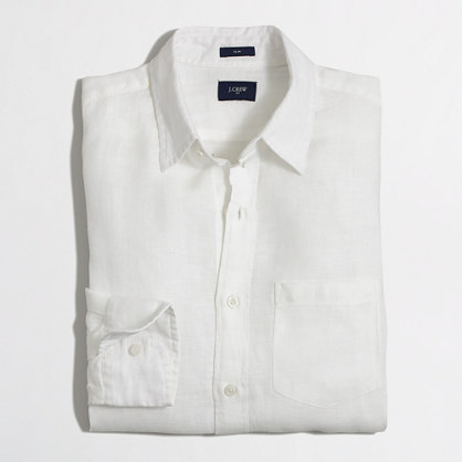 Slim linen shirt in white