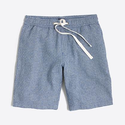"9"" patterned linen-cotton Stadium short"