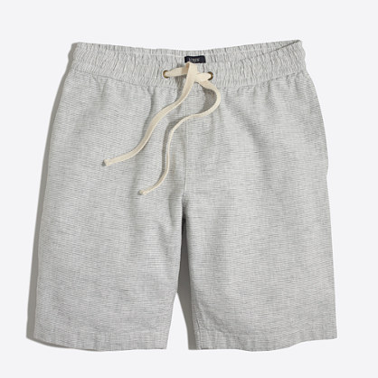 "9"" patterned linen-cotton Stadium short"