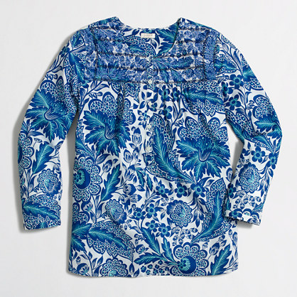 Printed embroidered placket top