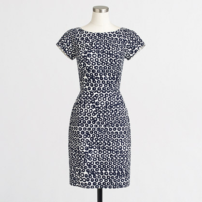 Petite short-sleeve basketweave dress