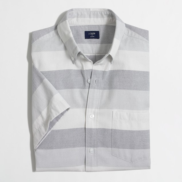 Short-sleeve oxford shirt in horizontal stripe