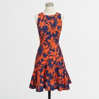 Petite flared dress in floral