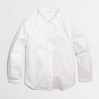 Factory girls' collar button-down