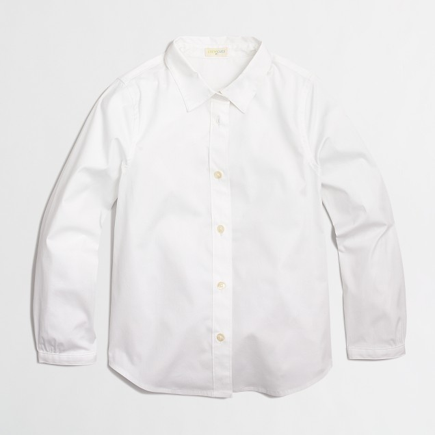 Factory girls' collar button-down