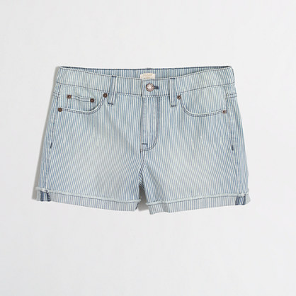 Cutoff denim short in railroad stripe