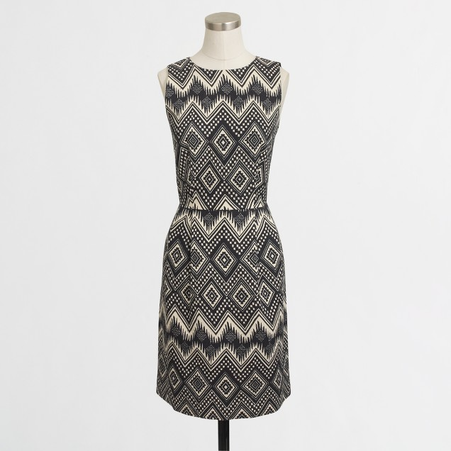 Petite diamond print basketweave dress