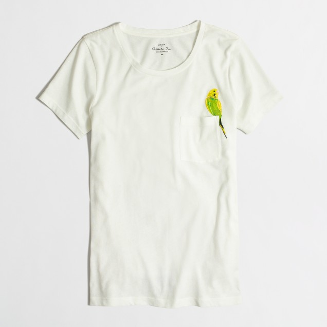 Embroidered bird collector T-shirt in airy cotton
