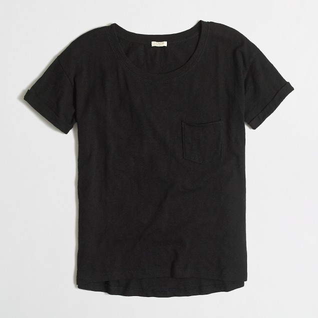 Cropped rolled-sleeve T-shirt
