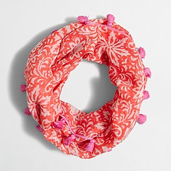 Factory girls' lightweight pom-pom scarf