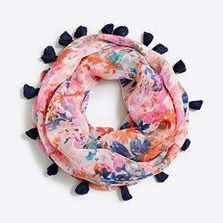 Girls' lightweight pom-pom scarf