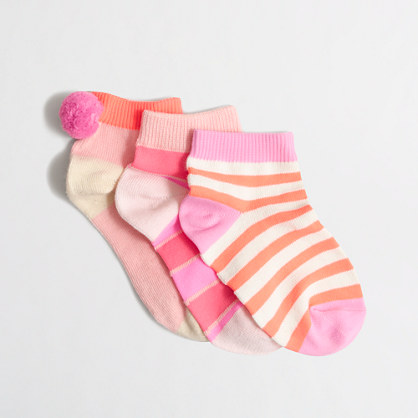 Girls' pom-pom socks three-pack