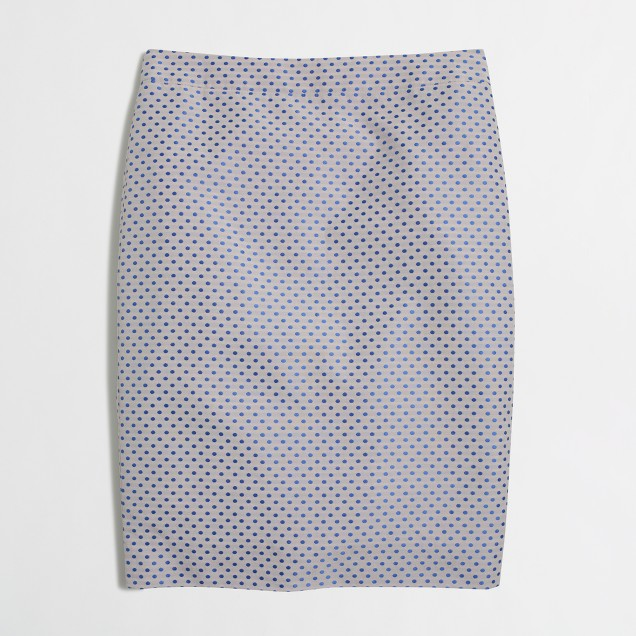 Petite pencil skirt in blue jacquard dot