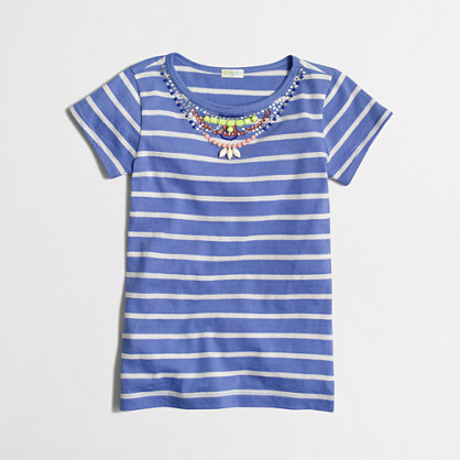 Girls' stripe necklace t-SHIRT