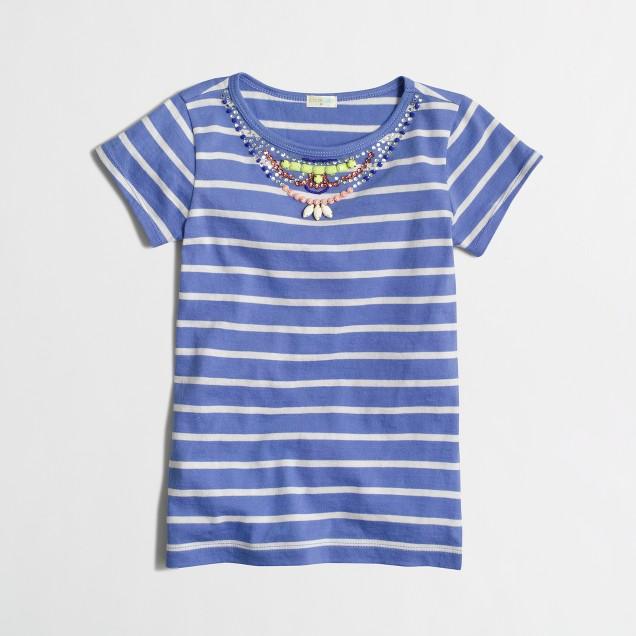 Girls' stripe necklace t-SHIRT