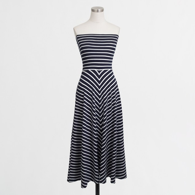 Convertible strapless knit dress in stripe