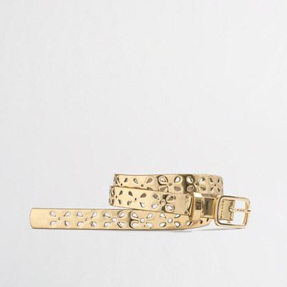 Girls' perforated metallic belt