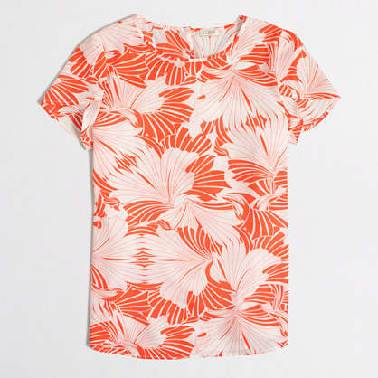 Printed petal-sleeve top