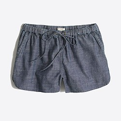 "Factory 3"" chambray drawstring short"