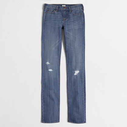 Distressed straight and narrow jean