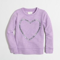 Girls' jeweled heart sweatshirt