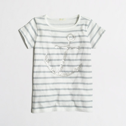 Girls' stripe sequin anchor keepsake t-SHIRT