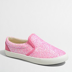 Factory girls' glitter slip-on sneakers