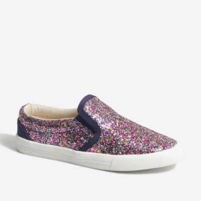 Girls' glitter slip-on sneakers factorygirls online exclusives c