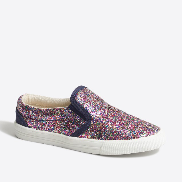 Girls' glitter slip-on sneakers